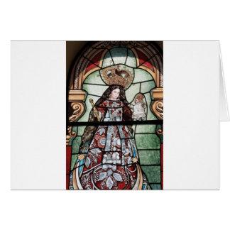 聖母マリアのベビーのイエス・キリストステンドグラス窓 カード