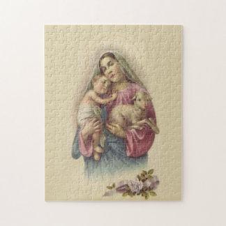 聖母マリアの母ベビーのイエス・キリストの賛美された子ヒツジ ジグソーパズル