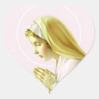 聖母マリアの祈りの言葉のステッカー ハートシール