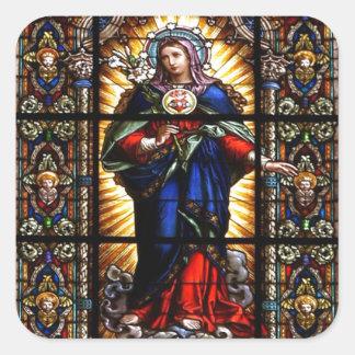 聖母マリアの美しい宗教神聖なハート スクエアシール