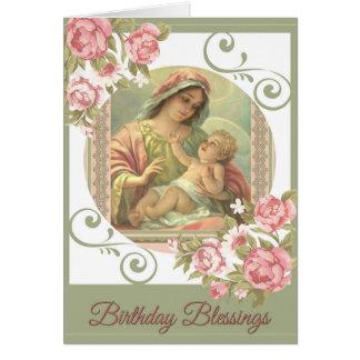 聖母マリアの赤ん坊のイエス・キリストの誕生日の恵みカード ノートカード