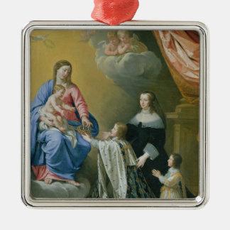 聖母マリアは王冠および王笏を与えます メタルオーナメント
