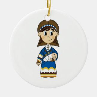 聖母マリア及びベビーのイエス・キリストのオーナメント セラミックオーナメント
