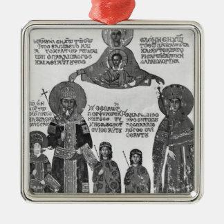 聖母マリア著保護されるManuel Palaeologus メタルオーナメント