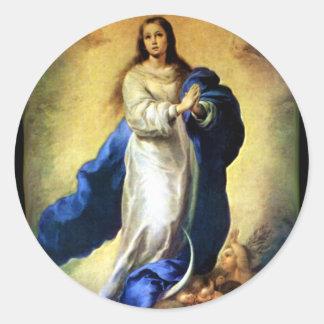 聖母マリア- Murilloの処女懐胎 ラウンドシール