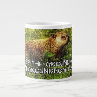 聖燭節のマグのGroundhogを保って下さい ジャンボコーヒーマグカップ