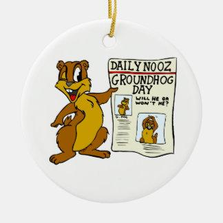 聖燭節Newpaperのかわいい漫画Groundhog セラミックオーナメント