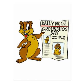 聖燭節Newpaperのかわいい漫画Groundhog ポストカード
