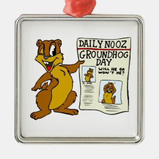 聖燭節Newpaperのかわいい漫画Groundhog メタルオーナメント