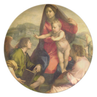 聖者および天使、c.のヴァージンそして子供 プレート