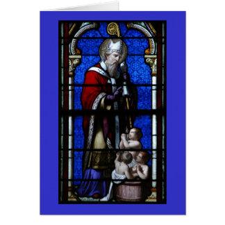 聖者のニコラスの恵みのステンドグラス カード