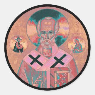 聖者のニコラスアイコン ラウンドシール