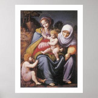 聖者エリザベスを持つヴァージンそして子供 ポスター