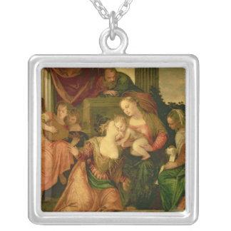 聖者キャサリンの神秘的な結婚 シルバープレートネックレス