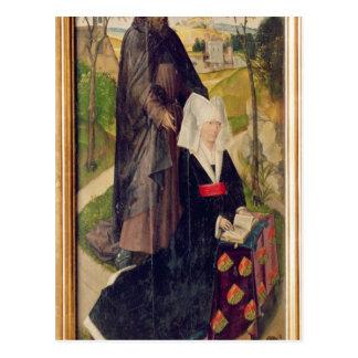 聖者ギヨームを持つGuillemette de Montagu ポストカード