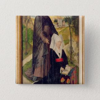 聖者ギヨームを持つGuillemette de Montagu 5.1cm 正方形バッジ