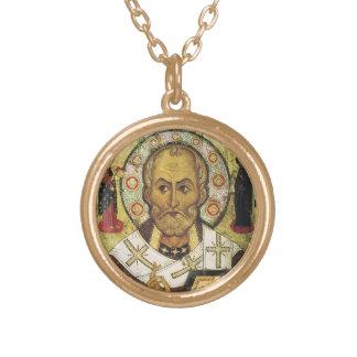 聖者ニコラス-サンタクロースの実質のネックレス ゴールドプレートネックレス