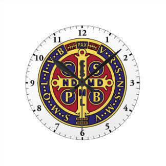 聖者ベネディクトメダル十字の柱時計 ラウンド壁時計