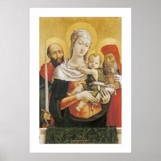 聖者ポールおよびジェロームを持つヴァージンそして子供 ポスター