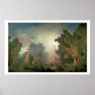 聖者雲(キャンバスの油)の祝日(detaiのために ポスター