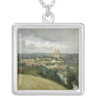 聖者Lo、c.1833の町の一般的な見解 シルバープレートネックレス