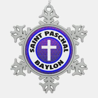聖者Paschal Baylon スノーフレークピューターオーナメント