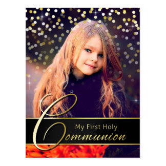 聖餐の写真のエレガントな金の郵便はがきの招待状 ポストカード