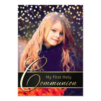 聖餐の写真のエレガントな金ゴールドのタイポグラフィの招待状 カード