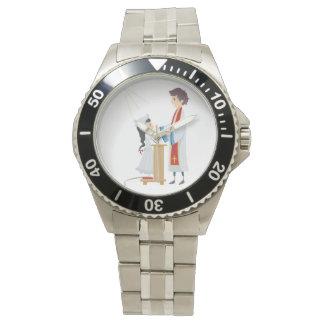 聖餐の腕時計を受け取っている女の子 腕時計