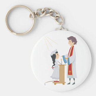 聖餐Keychainを受け取っている女の子 キーホルダー