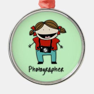職業カメラマンの女性フォトジャーナリスト メタルオーナメント