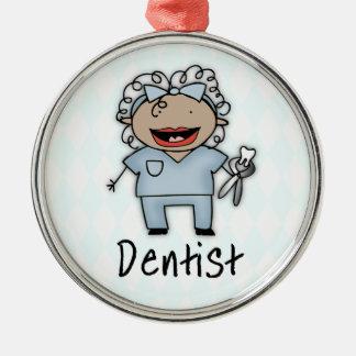 職業歯科医の専門の女性 メタルオーナメント