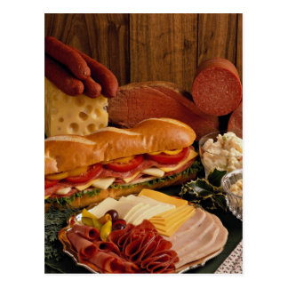 肉およびチーズが付いているおいしい海底サンドイッチ ポストカード