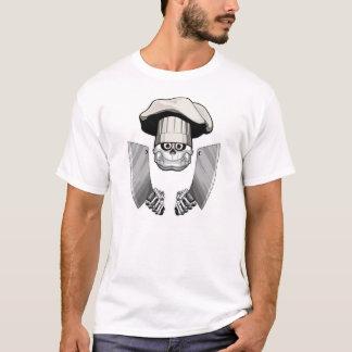 肉切り包丁が付いているシェフのスカル Tシャツ