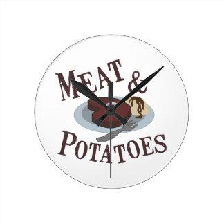 肉及びポテト ラウンド壁時計
