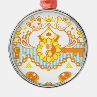 肉球陰陽太極図鍵と鍵穴白猫カップルオレンジ メタルオーナメント