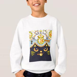 肉球陰陽太極図鍵と鍵穴白猫カップルカラフル スウェットシャツ