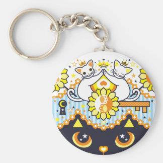 肉球陰陽太極図鍵と鍵穴白猫カップルカラフル ベーシック丸型缶キーホルダー