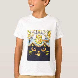 肉球陰陽太極図鍵と鍵穴白猫カップルカラフル Tシャツ