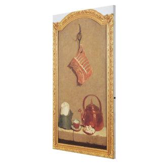 肉、やかんおよびコップが付いている静物画 キャンバスプリント