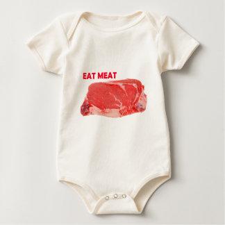 肉Ribeyeのステーキのワイシャツを食べて下さい ベビーボディスーツ