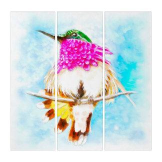肋骨のハチドリの水彩画 トリプティカ