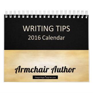 肘掛け椅子の作家: 書くことは2016カレンダーをひっくり返します カレンダー