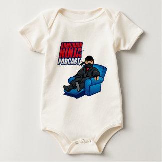 肘掛け椅子の忍者のポッドキャストの赤ん坊のボディスーツ ベビーボディスーツ
