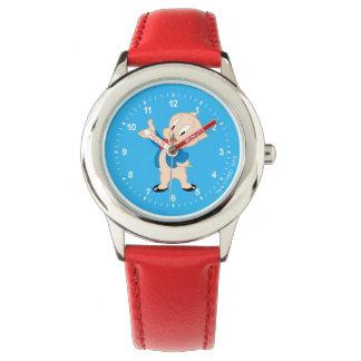 肥えたブタ のクラシックな姿勢 腕時計
