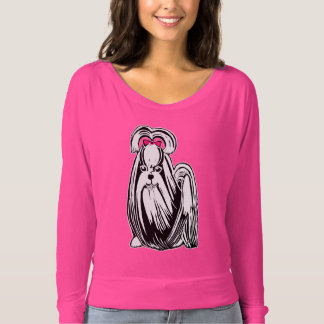 肩のワイシャツを離れたシーズー(犬)のTzuの女性のBella Flowy Tシャツ