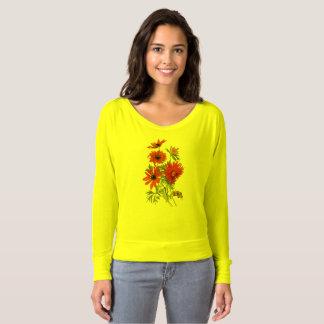 肩のワイシャツを離れたデイジー植物のFlowy Tシャツ