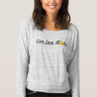 肩のワイシャツを離れて、アロハ住んで下さい、愛して下さい Tシャツ