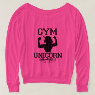 肩tを離れた体育館のユニコーンの長さの袖 tシャツ