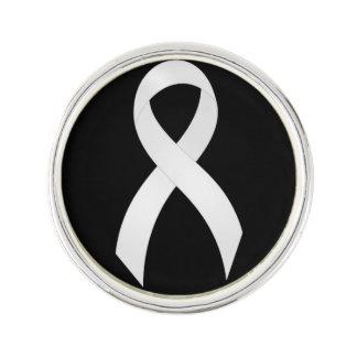 肺癌の白のリボン ラペルブローチ